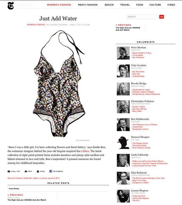 T Magazine Blog, April 7, 2011