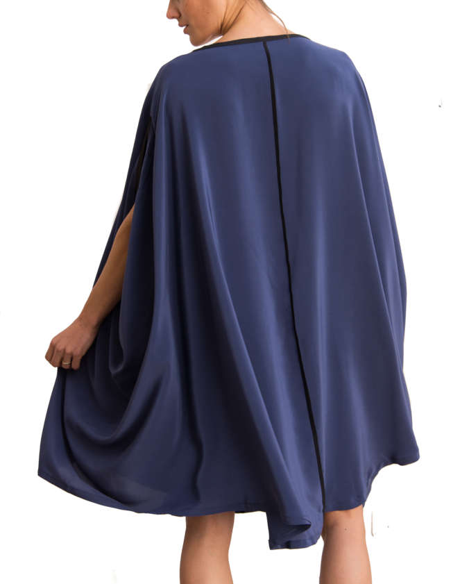 Product Shot: Poncho Silk Dress, Blue