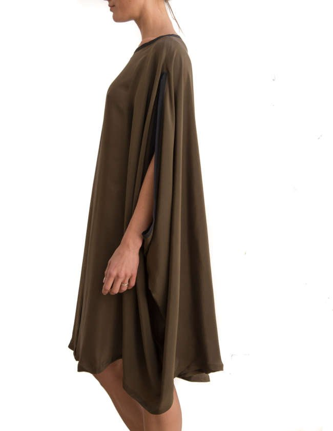 Product Shot: Poncho Silk Dress, Khaki