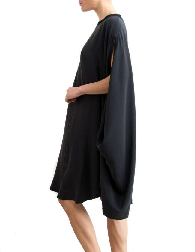 Product Shot: Poncho Silk Dress, Black / Black