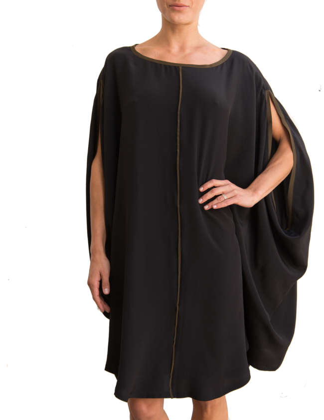 Product Shot: Poncho Silk Dress, Black / Khaki