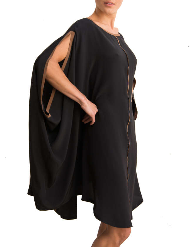 Product Shot: Poncho Silk Dress, Black / Brown