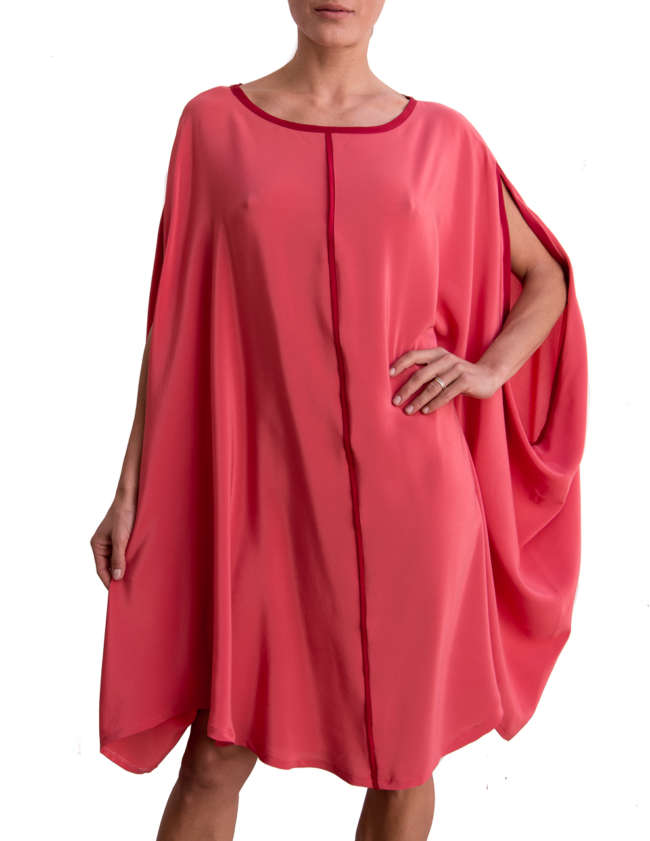 Product Shot: Poncho Silk Dress, Rose